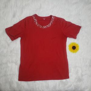 Allison Daley Short Sleeve Embellished Tee Shirt M